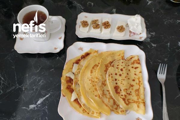 Kaşarlı Kahvaltılık Krep Tarifi