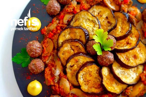 Misket Köfteli Mantar Soslu Fırın Patlıcan Tarifi