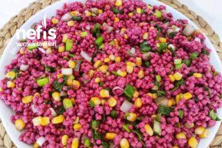 Renkli Sirkeli Kuskus Salatası (Çok Sağlıklı) Tarifi