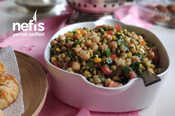 Maş Fasulyeli Nohutlu Salata Tarifi