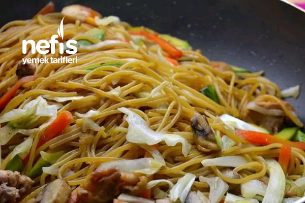 Spagetti İle Nefis Sebzeli Ve Etli Noodle Tarifi