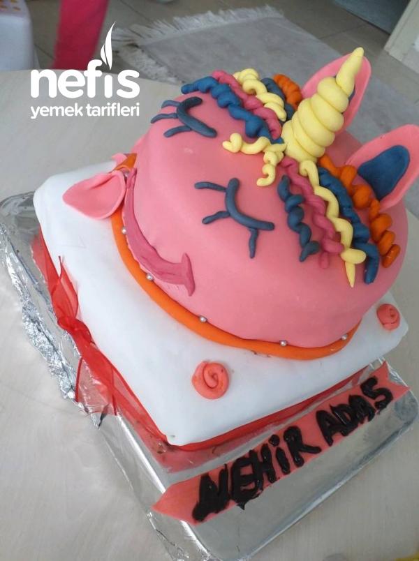 Doğum Günü Pastası 2 Katlı şeker Hamur Kaplamalı