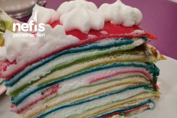 Pastel Rainbow Crepe Cake Tarifi