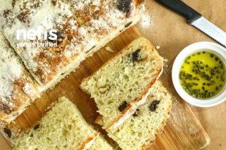 Zeytinli Ve Cevizli Ekmek (Hamuru Yoğurulmadan) Tarifi