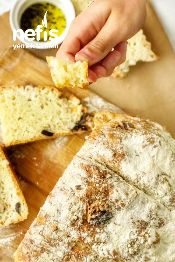 Zeytinli Ve Cevizli Ekmek (Hamuru Yoğurulmadan)