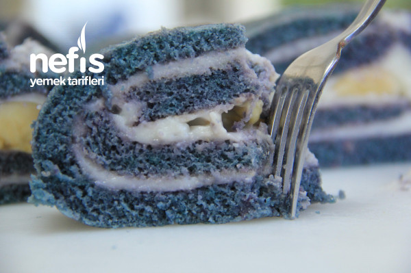 Mavi Renkli Rulo Pasta Gıda Boyasız (Videolu)