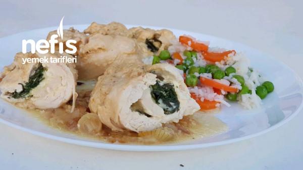 Ispanaklı Rulo Tavuk Göğsü
