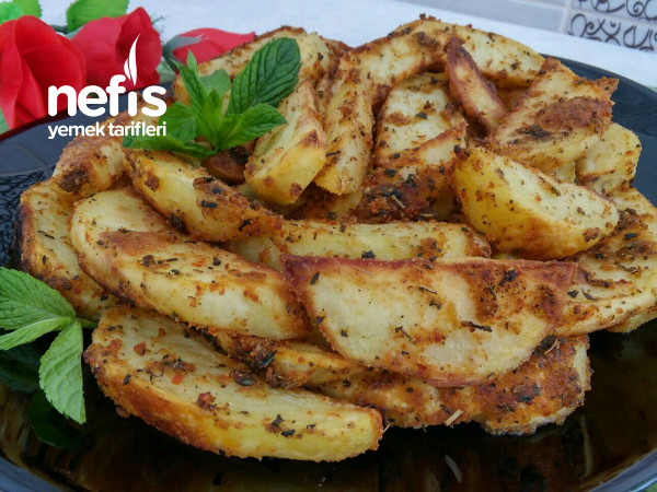 Fırında Galeta Unlu Çıtır Elma Dilim Patates