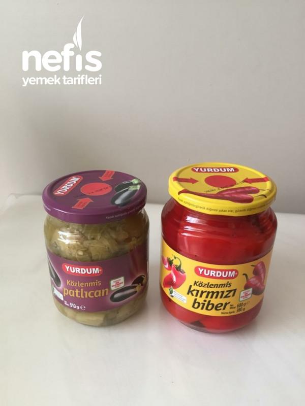 Köz Patlıcan Ve Köz Biberli Yoğurtlu Salata