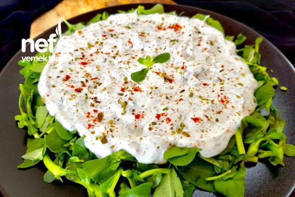 Krem Peynirli Yoğurt Sosuyla Semizotu Salatası Tarifi