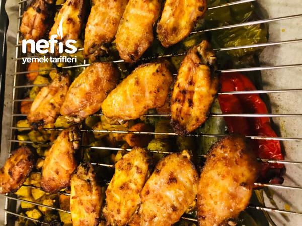 Fırında Tavuk Kanat Ve Sebze