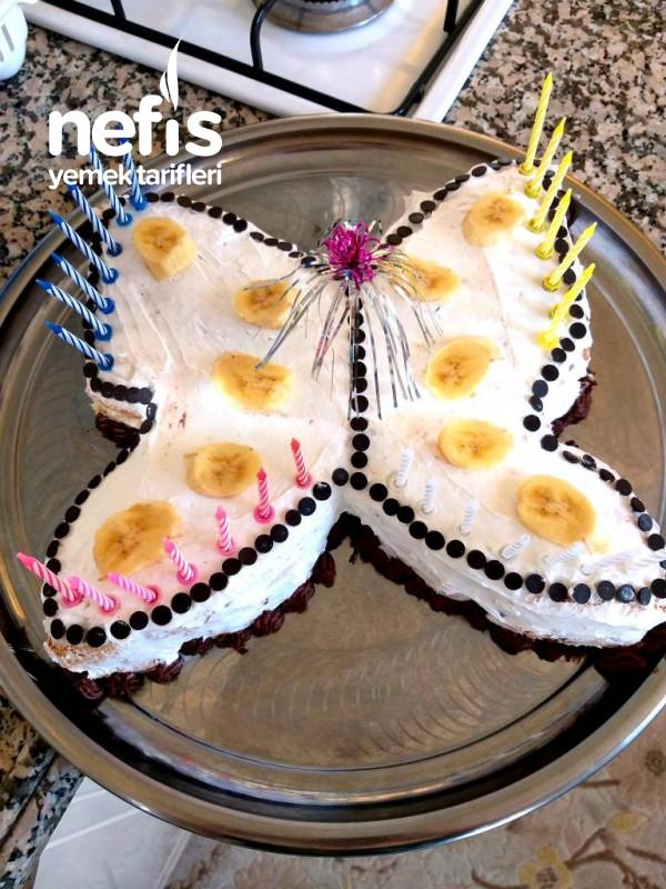 Kelebekli Yaş Pasta