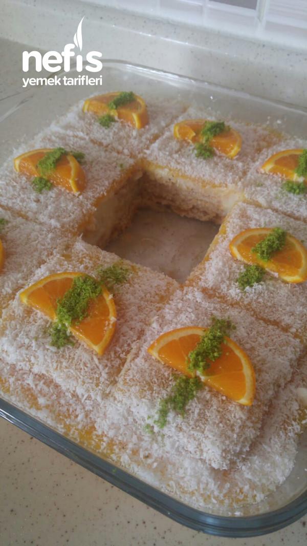 Portakallı Bisküvili Tatlı (Kolay Pasta)