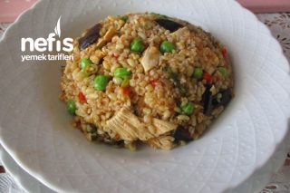 Tavuklu Patlıcanlı Bezelyeli Siyez Bulgurlu Bulgur Pilavı Tarifi