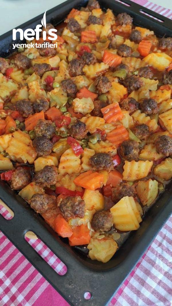 Tepside Misket Köfteli Sebze Kebabı (Muhteşem) Videolu