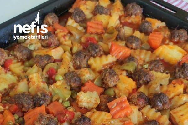 Tepside Misket Köfteli Sebze Kebabı (Muhteşem) Videolu Tarifi