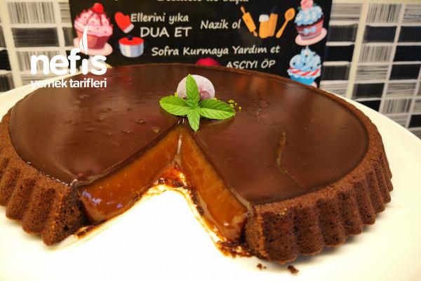 Karamel Ve Çikolata Aşkına Karamelli Çikolatalı Tart Kek (Videolu) Tarifi