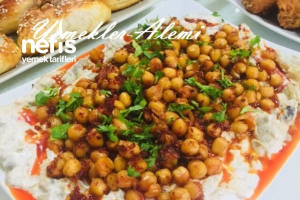 Köz Patlıcan Yatağında Nohut Salatası Tarifi