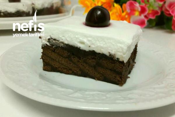 Yaş Pasta Tadında Kakaolu Bisküvili Pasta (Muhteşem) Tarifi