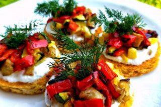 Patlıcanlı Sebzeli Kanepe Tarifi