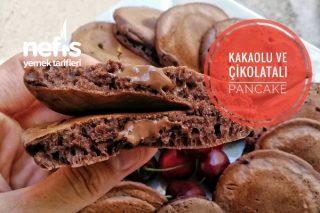 Kakaolu Ve Çikolatalı Yumuşacık Pancake Tarifi (Videolu)