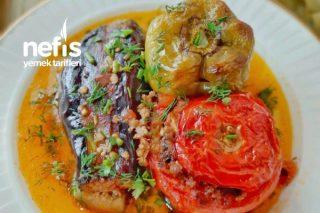 Fırında Yapılan Azerbaycan Mutfağından Nefis Domates Biber Patlıcan Dolması Tarifi