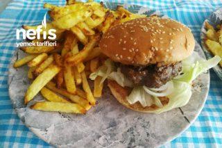 Ev Yapımı Hamburger Köftesi Ve Mükemmel Çıtır Fırın Patatesler (Çok Lezzetli Oldu) Tarifi
