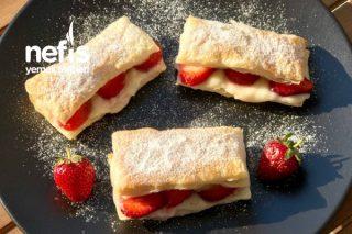 Çilekli Muzlu Milföy Pasta (Bir Borcam Dolusu) Tarifi