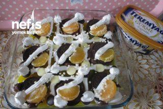 Teremyağlı Bisküvili Sütlü Mandalinalı Pasta Tarifi