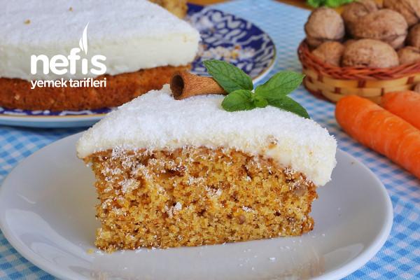 Enfes Kremalı Havuçlu Tarçınlı Cevizli Kek (videolu) Tarifi