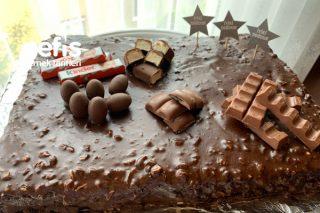 Çikolatalı Karamelli Doğum Günü Pastası (Videolu) Tarifi