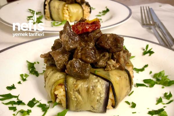 Patlıcan Kapama Domatesli Pilavlı (Porsiyonluk) Tarifi