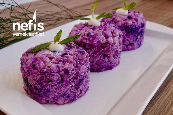 Mor Lahanalı Makarna Salatası