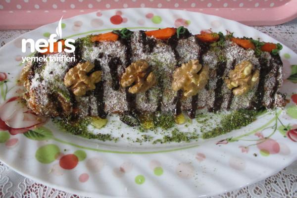 Muz Pudingli Havuçlu Cevizli Mozaik Pasta Tarifi