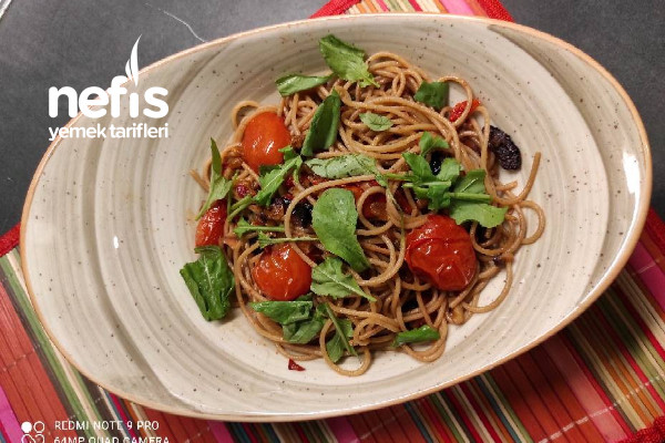 Domatello Spagetti – Spaghetti With Tomatoes  Olives  Walnut Tarifi