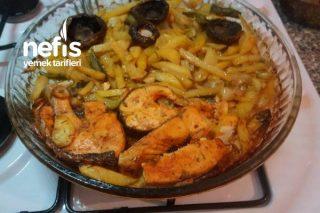 Fırında Somon Balığı ( Patates,Mantar) Tarifi