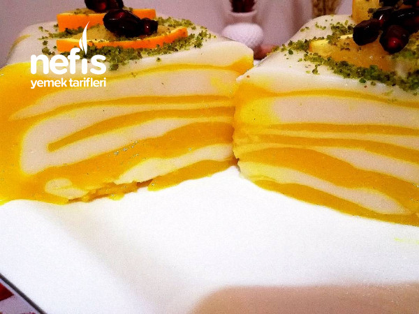 Görseliyle Hayran Bırakan Portakallı Zebra Muhallebi Tatlısı