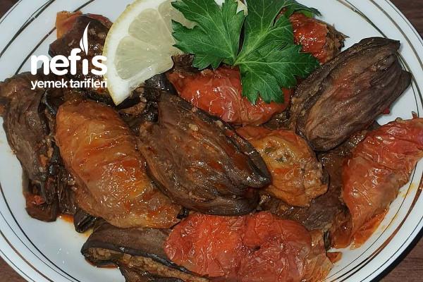 Etli Kuru Patlıcan Ve Biber Sarması Tarifi