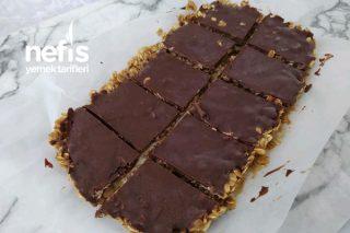 Çikolatalı Fıstık Ezmeli Bar Tarifi (1 Dilimi 154 Kalori) (Videolu)