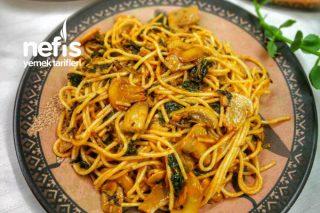 Ispanaklı Mantarlı Spagetti Tarifi