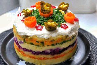Pasta Şeklinde Sebzeli Patates Salatası Tarifi