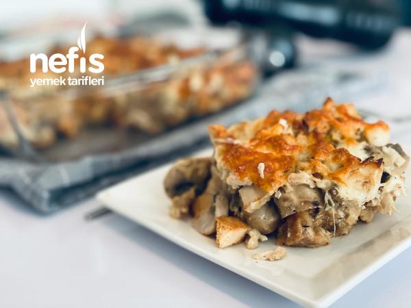 Bayat Ekmek Yatağında Kremalı Mantar Ve Tavuk (Fırında)