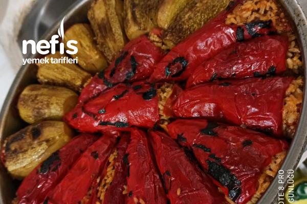 Kabak Ve Kırmızı Biber Dolması Bir Arada (Şahane Lezzet)