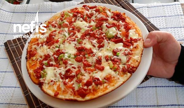 Hamur Açmadan Tavada pamuk gibi Mayasız Pizza