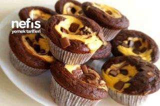 Cheesecake Dolgulu Bol Çikolatalı Muffins Tarifi (Videolu)