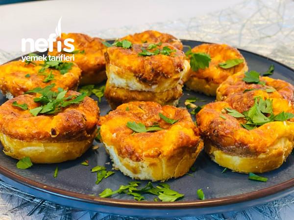 Lüks Yumurtali Ve Peynirli Muffin (Milfoy Hamuruyla)