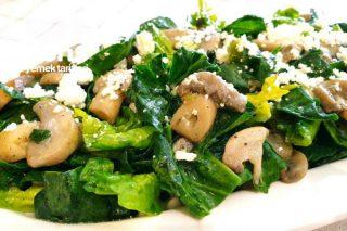 Mantarlı Ispanak Salatası Tarifi