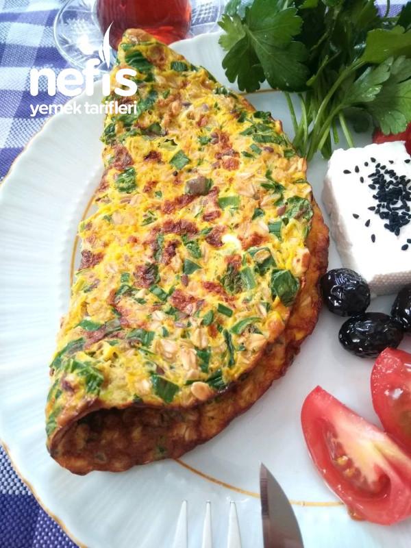 Yeşil Soğanlı Maydanozlu Yulaflı Fit Omlet