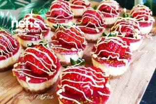 Mini Mini Çilekli Cheesecake (Videolu) Tarifi