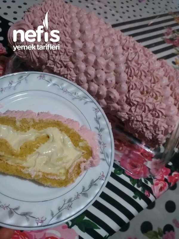 Özel Pastacı Kremasiyla Meyveli Rulo Pasta(Pamuksu Lezzetiyle)